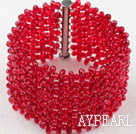 Wholesale Big Style Red Crystal Woven Bracelet with Long Slide Clasp