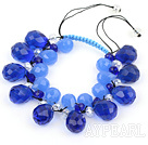 Wholesale Assorted Drop Shape Blue Manmade Crystal Woven Adjustable Bracelet