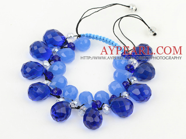 Assorted Drop Shape Blue Manmade Crystal Woven Adjustable Bracelet