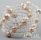 Wholesale Clear Crystal and Pink Freshwater Pearl Wrap Bangle Bracelet