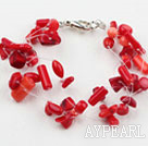 Wholesale Multi Strands Red Coral Bracelet with Lobster Clasp