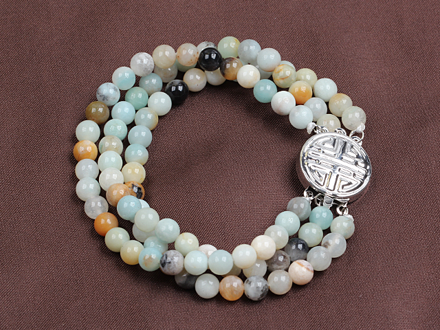 Fashion Three Strand Multi Color Amazon Stone Beads Bracelet
