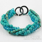 Wholesale Multi Strand Turquoise and Blue Crystal Bracelet