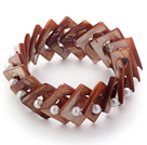 Wholesale Coffee Color Donut Shell and White Seashell Beads Stretch Bangle Bracelet