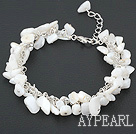 Wholesale white lip shell bracelet with metal chain and lobster clasp