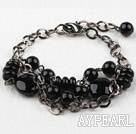Assorted Black Agate Bracelet with Metal Adjustable Chain