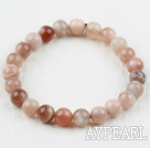 8mm Round Sunstone Beaded Elastic Bangle Bracelet