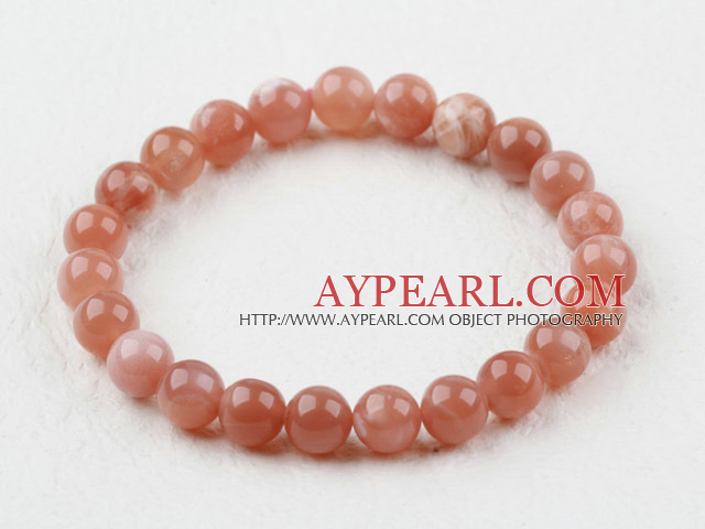8mm A Grade Round Sunstone Beaded Elastic Bangle Bracelet