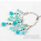 Wholesale Blue Crystal and Blue Jade Bracelet with Metal Chain