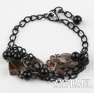Wholesale Smoky Quartz and Black Seashell Beads Bracelet with Metal Chain