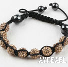 10mm Golden Color Rhinestone Ball Weaved Shamballa Bracelet with Adjustable Thread