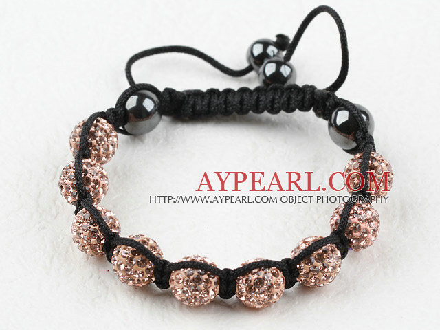 10mm Golden Champagne Color Rhinestone Woven Drawstring Bracelet with Adjustable Thread