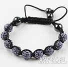 10mm Light Purple Rhinestone Ball Weaved Shamballa Bracelet with Adjustable Thread