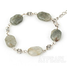 Fashion Chunky Moss Stone Loop Chain Flower Bracelet With Lobster Clasp