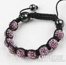 10mm Purple Color Rhinestone Weaved Drawstring Bracelet with Adjustable Thread