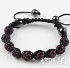 10mm Dark Purple Color Rhinestone Ball Weaved Drawstring Bracelet with Adjustable Thread