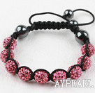 10mm Pink Rhinestone Woven Drawstring Bracelet with Adjustable Thread
