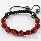 10mm Red Rhinestone Ball Weaved Shamballa Bracelet with Adjustable Thread