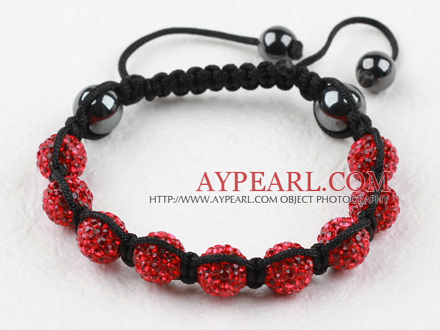 10mm Red Rhinestone Woven Drawstring Bracelet with Adjustable Thread
