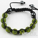 10mm Olive Green Rhinestone Weaved Drawstring Bracelet with Adjustable Thread