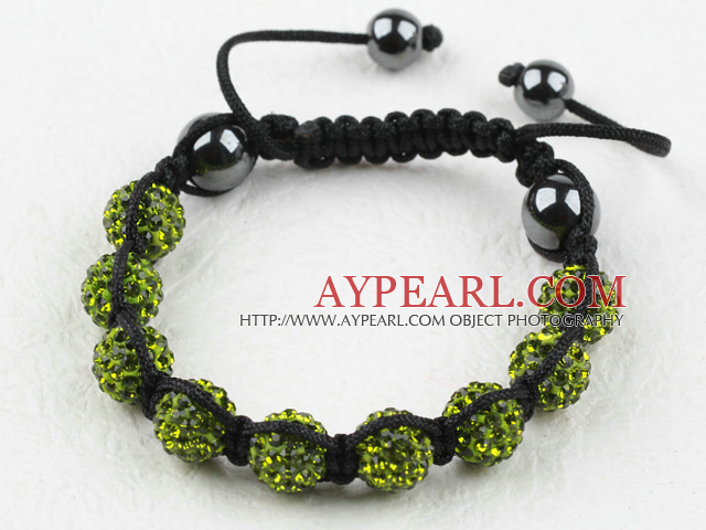 10mm Olive Green Rhinestone Woven Drawstring Bracelet with Adjustable Thread