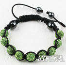 10mm Apple Green Rhinestone Ball Bracelet with Adjustable Thread