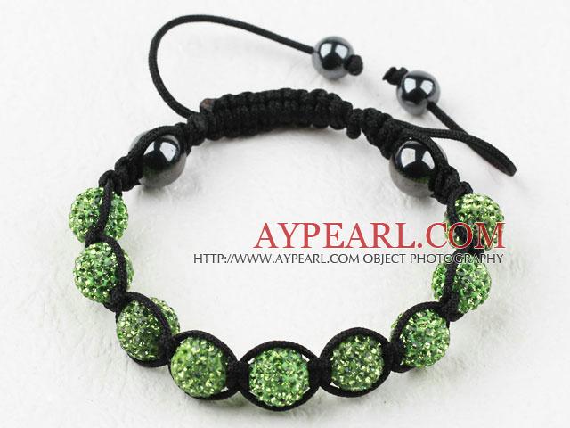 10mm Apple Green Rhinestone Ball Bracelet with Adjustable Thread