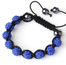 10mm Dark Blue Rhinestone Ball Woven Ball Bracelet with Adjustable Thread