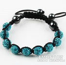 10mm Lake Blue Rhinestone Ball Weaved Shamballa Bracelet with Adjustable Thread