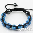 10mm Blue Rhinestone Ball Weaved Shamballa Bracelet with Adjustable Thread