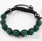 10mm Darl Green Rhinestone Ball Weaved Drawstring Bracelet with Adjustable Thread