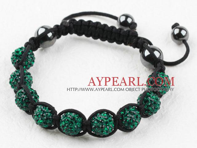 10mm Darl Green Rhinestone Ball Woven Drawstring Bracelet with Adjustable Thread