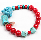 Simple Style Red Blood Stone Coral Turquoise Beads Stretch / Elastic Bracelet With Buddha Head Charm And Golden Rose Color Hollow Heart
