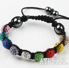 Wholesale 10mm Multi Color Rhinestone Ball Woven Drawstring Bracelet with Adjustable Thread