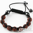 10mm Red Brown Color Rhinestone Ball Weaved Drawstring Bracelet with Adjustable Thread