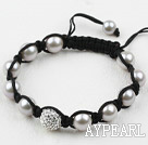 10mm Gray Seashell and Rhinestone Ball Weaved Drawstring Bracelet with Adjustable Thread