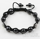 Black Seashell Beads and Rhinestone Ball Weaved Drawstring Bracelet With Adjustable Thread