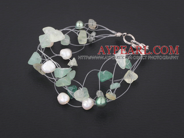 pearl and aventurine and green rutilated quartz bracelet with lobster clasp