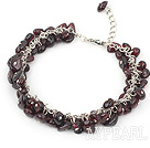Wholesale 6mm garnet bracelet with metal chain and lobster clasp