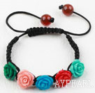 Fashion Style Assorted Multi Color Turquoise Flower Woven Drawstring Bracelet with Adjustable Thread