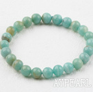 Wholesale 8mm Round Natural Amazon Stone Elastic Beaded Bracelet
