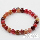Wholesale 8mm Round Three Color Jade Elastic Beaded Bracelet