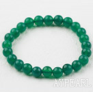 8mm Round Green Agate Elastic Beaded Bracelet
