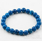 8mm Round Dark Blue Agate Elastic Beaded Bracelet