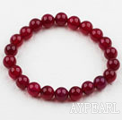 8mm Round Rose Red Agate Elastic Beaded Bracelet
