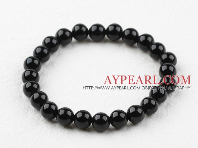 8mm Round Black Agate Elastic Beaded Bracelet