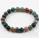 8mm Round Indian Agate Elastic Beaded Bracelet