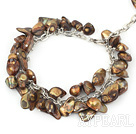 Wholesale dyed brown shell and pearl bracelet with lobster clasp