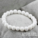 Wholesale 8mm Round White Sea Shell Elastic Beaded Bracelet