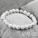 8mm Round Natural Howlite Elastic Beaded Bracelet